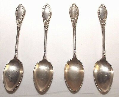 Set-4 Antique Robert F Mosely Sheffield Ornate Sterling Silver Demitasse Spoons