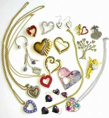 19 pc lot collection earrings pins brooches necklaces Heart jewelry JJ AJC Love