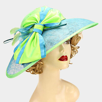 Women's Color Block Bow Sinamay Hat Dressy Wedding Church Derby - USA Seller
