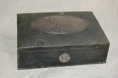 Vintage Indian Bidri Inlaid Silver Rectangle Rectangular Box Bidriware