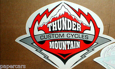 """PAIR Thunder Mountain Custom Cycles Motorcycle New sticker Harley Davidson 16""""in"""