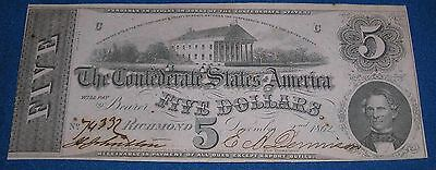 Confederate Civil War $5 Note T53 #380 74332 Money Currency
