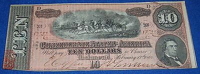 Confederate Civil War $10 Note T68 #551 Money Currency