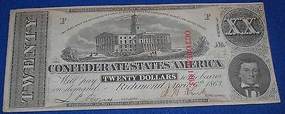 Confederate Civil War $20 Note T58 #419 NICE! Money Currency