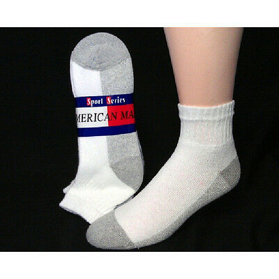 Wholesale Lot 60 Pair Mens Quarter Socks Size 10-13 Large White with Gray Sole