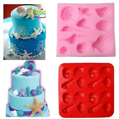 Silicone Starfish Sea Shells Mould Fondant Cake Chocolate Cookies Decor Baking