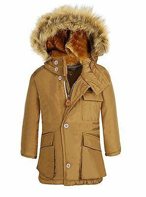 Boy's Winter Cotton Coat Jacket Windproof Warmth With Fleece Lined Hood Khaki
