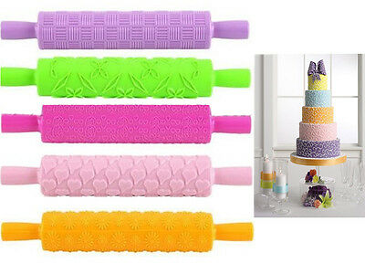 New Emossed Fondant Cake Rolling Pin Emnossing Sugarcraft Decorating Gum Pastry