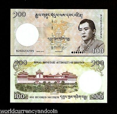 Bhutan 100 Ngultrum P32 2015 King Dzong Palace Unc Currency Money Bill Bank Note