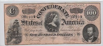 $100 Confederate Currency 1864 Series 1