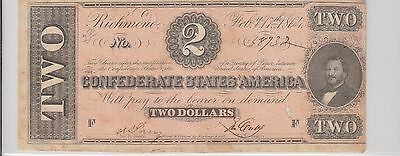 $2 Confederate Currency 1864 T-70 Tough Note
