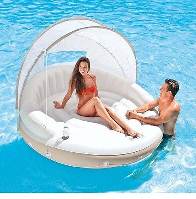 Island Canopy Float Inflatable Lounge Detachable Fabric Sun Shade Floating Pools