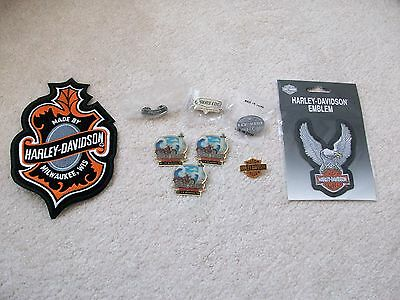 LOT of HARLEY DAVIDSON Motorcycle 2 Patches & 7 Pins