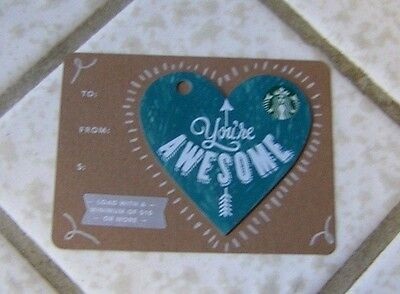 """Starbucks Gift Card ~ Valentine's Day """"You're Awesome"""" ~ Limited Edition 2016"""