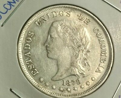 Nice find!! Colombia 1878 Silver Coin 50 Centavos Bogotá Mint
