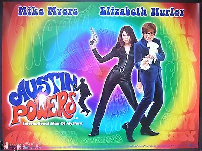 Austin Powers Original 1997 Quad Poster Mike Myers Elizabeth Hurley