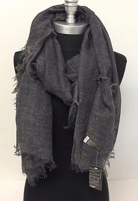 Men's Fashion Linen Scarf Grey Lightweight Tassel Shawl Wrap Soft All Seasons
