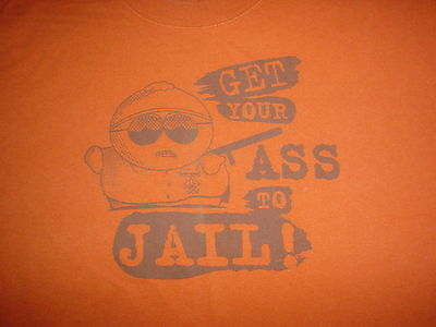 SOUTH PARK Cartman Get Your Ass To Jail Tv Show Cartoon Movie Large L T SHIRT