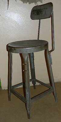 Vintage Industrial Metal Chair Stool Adjustable with Back Steam Punk