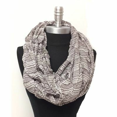 New Men's Infinity Scarf 2-Circle Wrap Soft Striped Brown White HIGH QUALITY