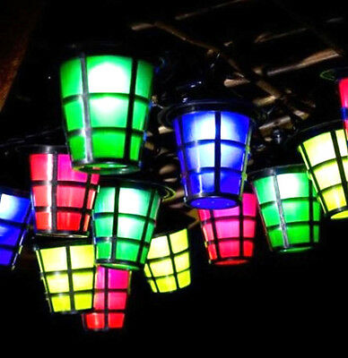 50 Solar Powered Coloured LED Garden Outdoors Chinese Lanterns Lamps/Lights