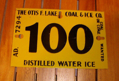 """The Otis F. Lake Coal & Ice Co. """"Distilled Water Ice"""" Metal Ice Delivery Tag"""