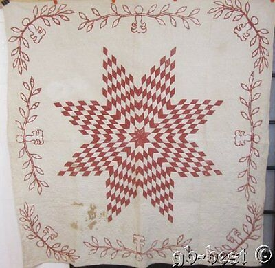RARE c 1850s Star Album Applique Antique QUILT Turkey Red DENSE quilting