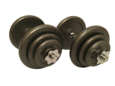 """Weight Plates Set Cast Iron Lifting Training Discs Gym Barbell Hex Grip 1"""" Hole"""