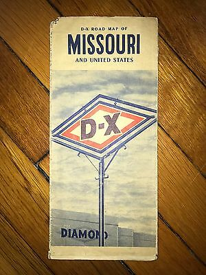 Vintage D-X Road Map Of Missouri And United States - 1940