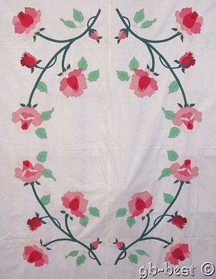 "Vintage Cottage Roses c 30s Applique QUIT Top Pink 94"" x 76"""