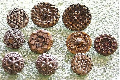 10 Antique Brass & White Metal Twinkle Backs~Incl 3 Matching & 1 Pair