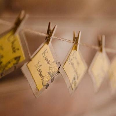 36 MINI WOODEN PEGS and STRING WOOD HANGING CARDS PHOTO CLIPS WEDDING HANGERS
