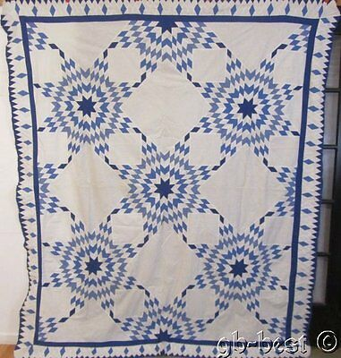 "Stars Stars BLUE Stars! c 1930s Prairie Star Vintage QUILT Top DIAMONDS 92"" x 79"