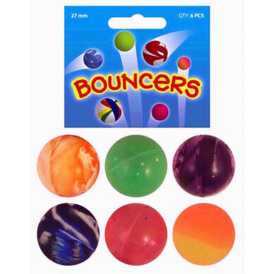 6 Assorted BOUNCY Jet BALLS 27mm - Kids Birthday Party Loot Bag Fillers Toys
