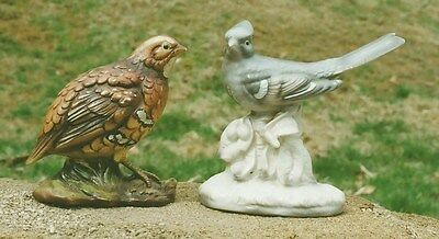 Vintage Ceramic bird figurines Quail Blue Jay Japan Ardco MIJ Otagiri? porcelain
