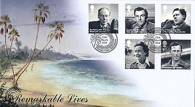 G.B. 2014 Remarkable Lives, Buckingham covers, A Pair of FDC's, BC505 & BC505A