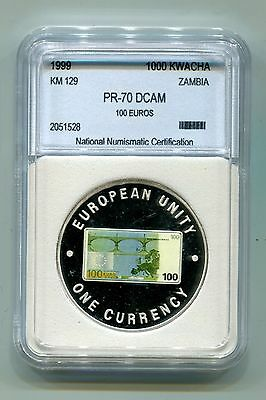 Zambia : 1000 Kwacha 1999 Proof (KM 129) - Multicolored 100 Euro