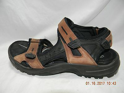 Men's Ecco Brown Leather Sporty Sandals Size 44 Eur 10-10.5 Us