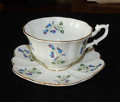 Vintage SHELLEY Fine Bone China TEA CUP & SAUCER Floral BLUEBELL Teacup