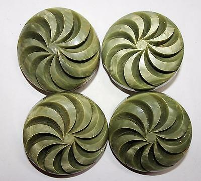 """Antique/Vintage Buttons 4 Large 1.5"""" Chunky Deep Carved Green Catalin Spirals"""