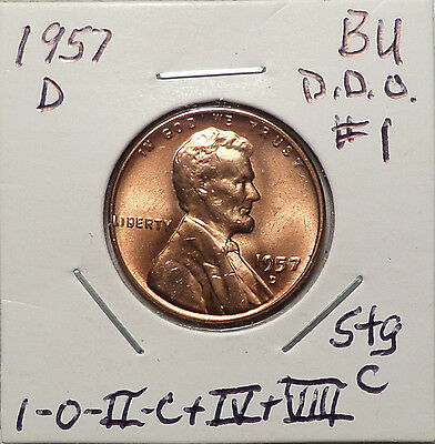 1957 D Lincoln Cent Doubled Die Obverse DDO #1 Red BU
