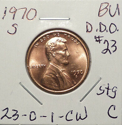 1970 S Lincoln Cent Doubled Die Obverse DDO #23 BU Red