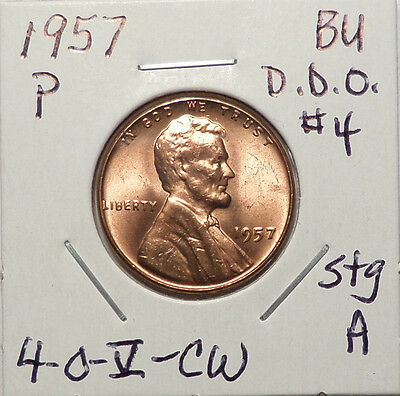 1957 P Lincoln Cent Doubled Die Obverse DDO #4 EDS Red BU