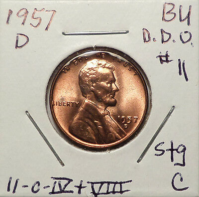 1957 D Lincoln Cent Doubled Die Obverse DDO #11 Red BU