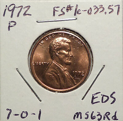 1972 P Lincoln Cent Doubled Die Obverse DDO #7 FS-01-1972-107 Stg A BU Red