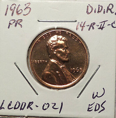 1963 Proof Lincoln Cent Doubled Die Reverse DDR #14 EDS stage A