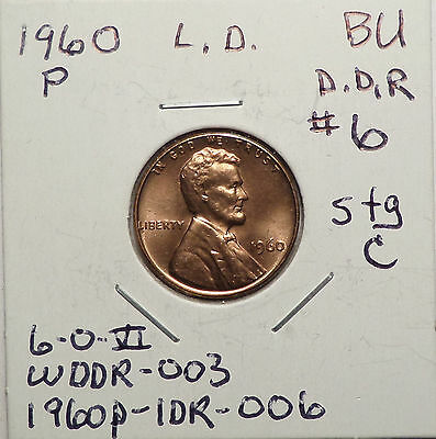 1960 P Large Date Lincoln Cent Doubled Die Reverse DDR #6 Stg C BU Red