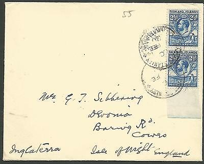 FALKLAND IS 1930 COVER SENT TO ISLE OF WIGHT ENGLAND FRANKED MARG PAIR OF 2.5ds