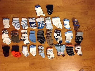 Lot Of 29 Pairs Of Socks Boys Baby Sports Animals