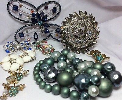 Vintage Rhinestone Signed Jewelry for Repair /Parts/Harvest Dodds, Lisner, Coro